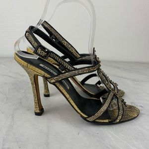 Manolo Blahniks Animal Print Strappy Heels